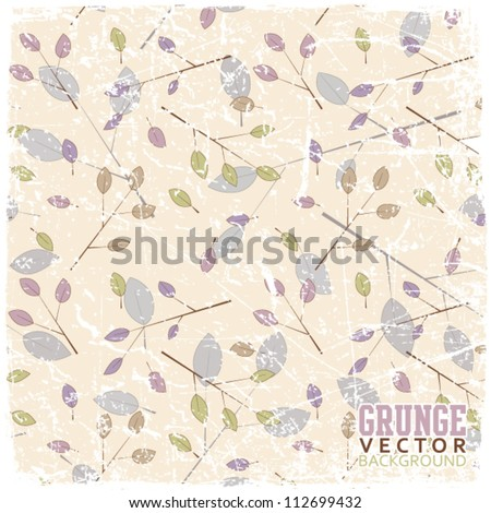 Vintage scratched floral background - stock vector