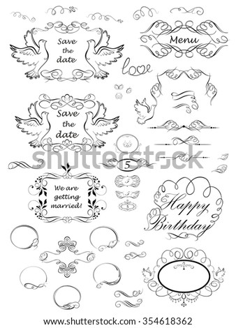 Vintage scroll and frames - stock vector