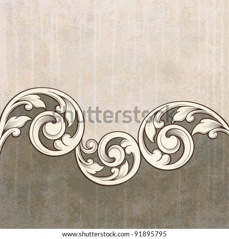 Vintage scroll engraving pattern at grunge background card invitation vector - stock vector