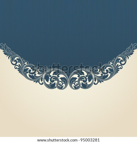Vintage scroll engraving pattern border frame card invitation vector - stock vector