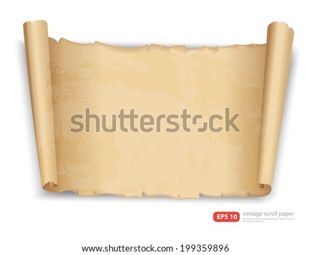 vintage scroll paper vector format - stock vector