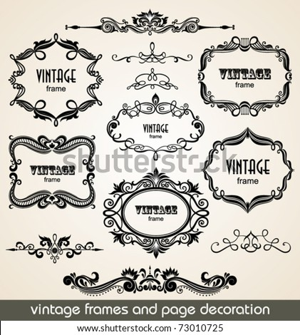 Vintage scrolls and frame. Design elements and page decoration. Set. - stock vector