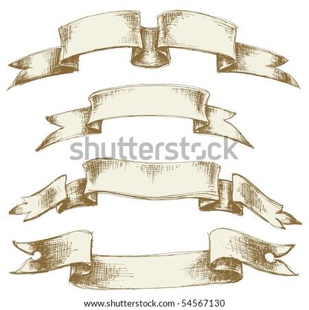 Vintage scrolls set - stock vector