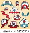 Vintage sea labels set - stock vector