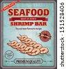 Vintage seafood shrimp bar poster design - stock vector