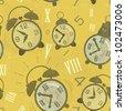 Vintage seamless background -  Alarm Clocks with Grunge Effect - vector illustration - stock vector