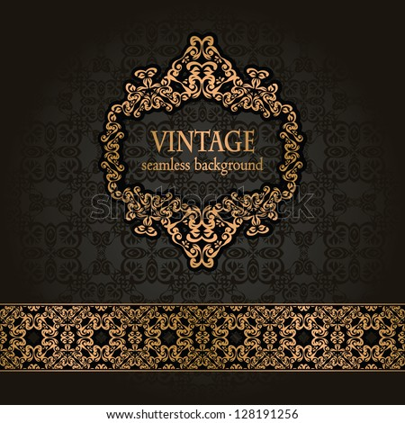 Vintage seamless background with a gold frame and ribbon in retro style - stock vector