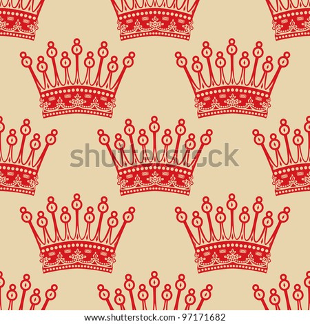 Vintage seamless background with red crown pattern. - stock vector