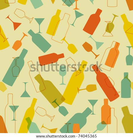 Vintage seamless background with wine bottles and glasses - stock vector