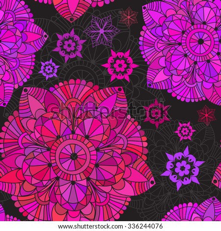 Vintage seamless black pattern with colorful lacy circles, vector eps 10 - stock vector
