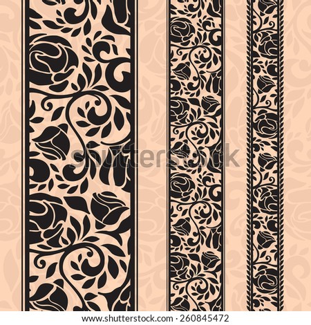 Vintage seamless decorative patterns in the form of strips.Lace strips for decoration and design.Template frame design for card. Lace Doily. Can be used for packaging, invitations, and template. - stock vector