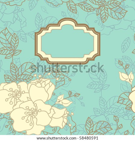 vintage seamless floral card - stock vector