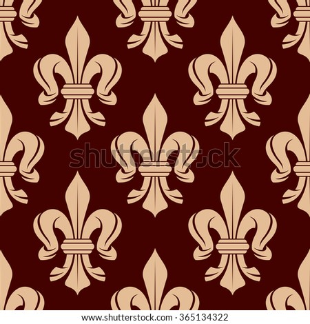 Vintage seamless floral pattern of french royal beige fleur-de-lis symbols over maroon background. Great for heraldic background or interior textile and accessories design - stock vector
