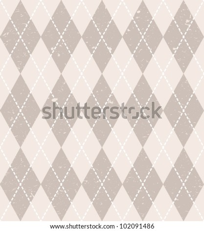 Vintage seamless geometric pattern with traditional ornament and grunge texture. Vector EPS-8. - stock vector