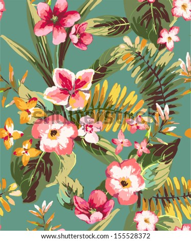vintage seamless hand draw tropical flower - stock vector