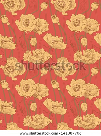 Vintage seamless orange pattern. Poppies - stock vector