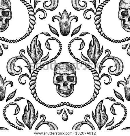 Vintage seamless ornament with skull in baroque style. EPS 8 vector illustration. - stock vector