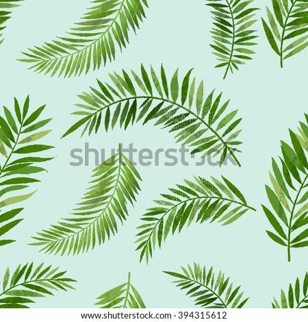 Vintage seamless palm leaf pattern. - stock vector