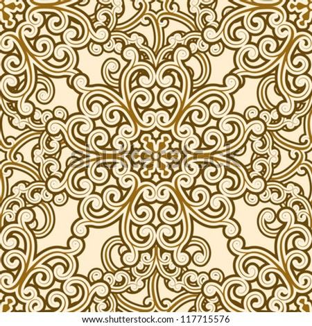 Vintage seamless pattern, abstract floral background, vector illustration - stock vector