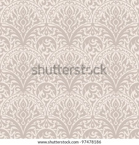 Vintage seamless pattern. EPS-8, endless floral ornaments in vintage style. Original author's design, hand-drawn. - stock vector