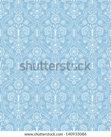 Vintage seamless pattern floral. White, blue - stock vector