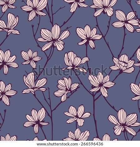Vintage seamless pattern with apple flowers Seamless texture - stock vector