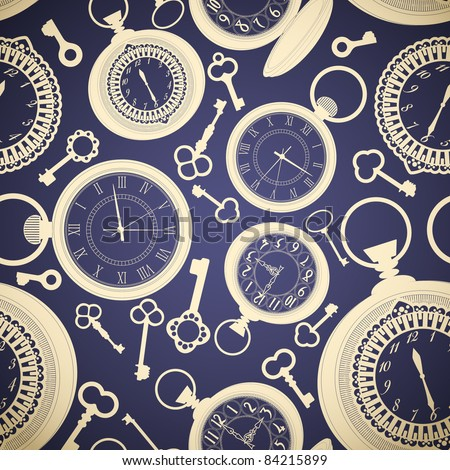 Vintage seamless pattern with clocks and keys - stock vector