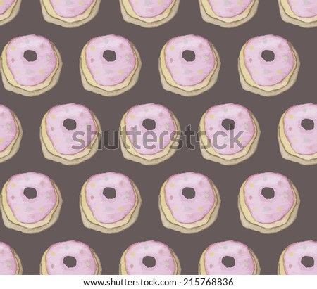 Vintage seamless pattern with donuts. Watercolor paint. Tea party theme.