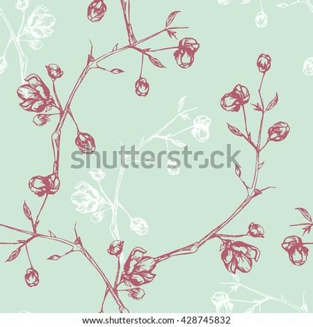 Vintage seamless pattern with flowers on branches - stock vector