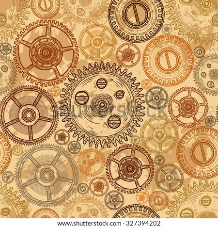 Vintage seamless pattern with gears of clockwork on aged paper background. Retro hand drawn vector illustration. - stock vector