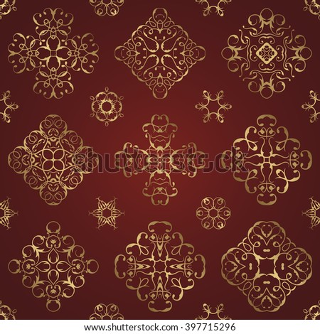 Vintage seamless pattern with gold lace floral decoration. Can be used for modern design for textures, textile