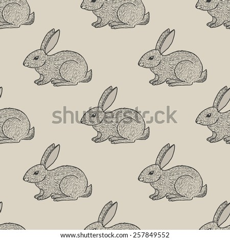 Vintage seamless pattern with hand drawn cute little hares - stock vector