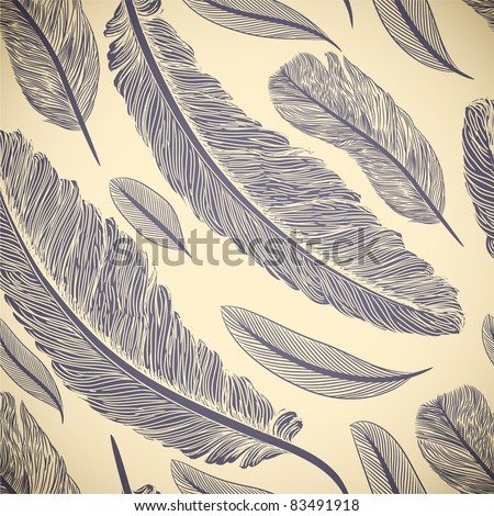 Vintage seamless pattern with hand-drawn feathers - stock vector