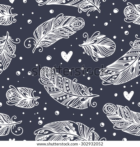 Vintage seamless pattern with hand-drawn feathers. Can be used for desktop wallpaper or frame for a wall hanging or poster,for pattern fills, surface textures, web page backgrounds, textile and more. - stock vector
