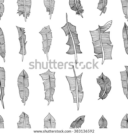 Vintage seamless pattern with hand-drawn feathers. Illustration - stock vector