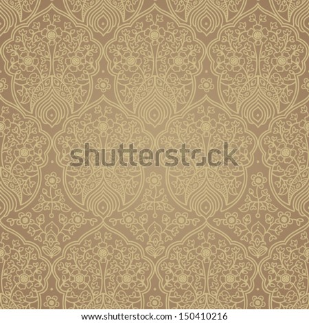Vintage seamless pattern with lacy ornament. Background in ethnic style. It can be used for wallpaper, pattern fills, web page background, surface textures. - stock vector