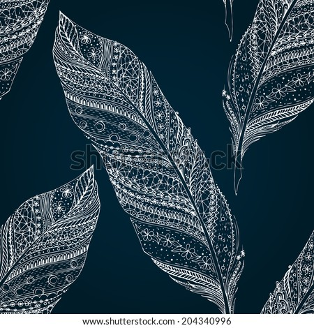 Vintage seamless pattern with original hand drawn feathers on black background. Seamless vector pattern.  - stock vector
