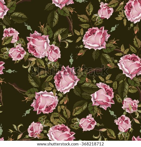 Vintage seamless pattern with retro roses. Old style. - stock vector