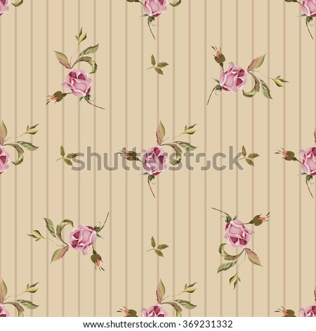 Vintage seamless pattern with roses. Old style fashioned. - stock vector