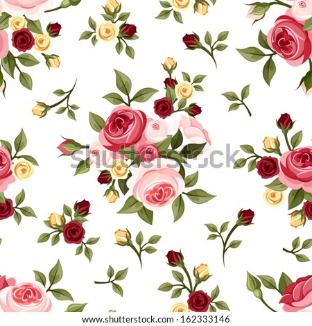 Vintage seamless pattern with roses. Vector illustration. - stock vector