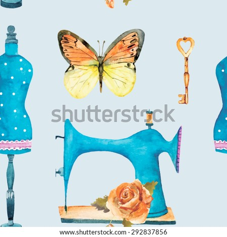 Vintage seamless pattern with sewing machine, key, butterfly, rose and fashion mannequin. Watercolor vector illustration for your design.  - stock vector