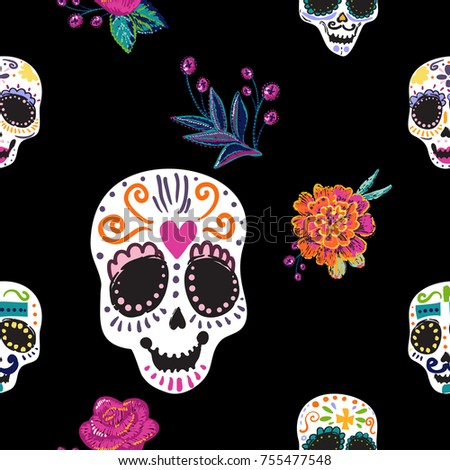 Vintage Seamless Pattern Sugar Skulls Embroidery Stock Vector