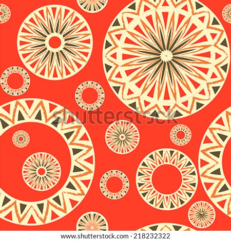 Vintage seamless pattern with  traditional elements of ancient Altai ornaments. illustration, vector - stock vector