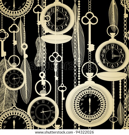 Vintage seamless pattern with watches, feathers and keys - stock vector