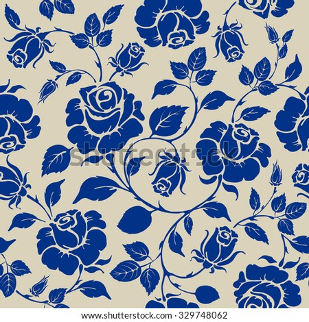 Vintage seamless rose floral pattern. Blue luxury flowers on beige background.  - stock vector