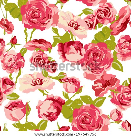 Vintage Seamless Roses Background.  Roses pattern, romantic floral, flowers pattern