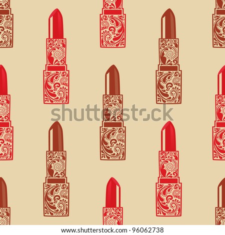 Vintage seamless texture with lipstick from the leaf pattern. - stock vector