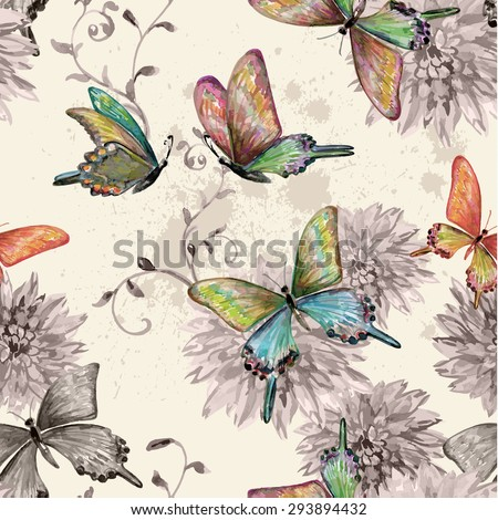 vintage seamless texture with of flying butterflies. watercolor painting. vector illustration - stock vector