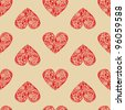 Vintage seamless texture with red hearts of the leaf pattern. - stock vector