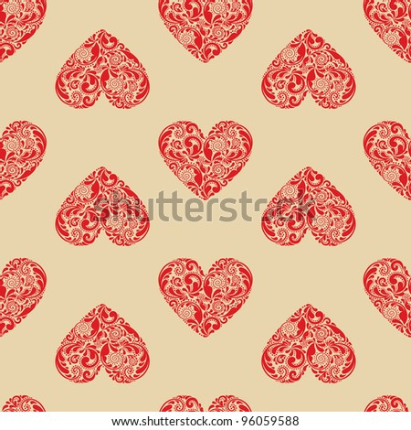 Vintage seamless texture with red hearts of the leaf pattern.